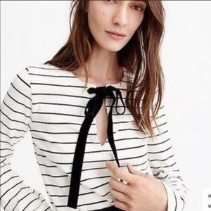 Like new J. Crew velvet tie-front top in stripes